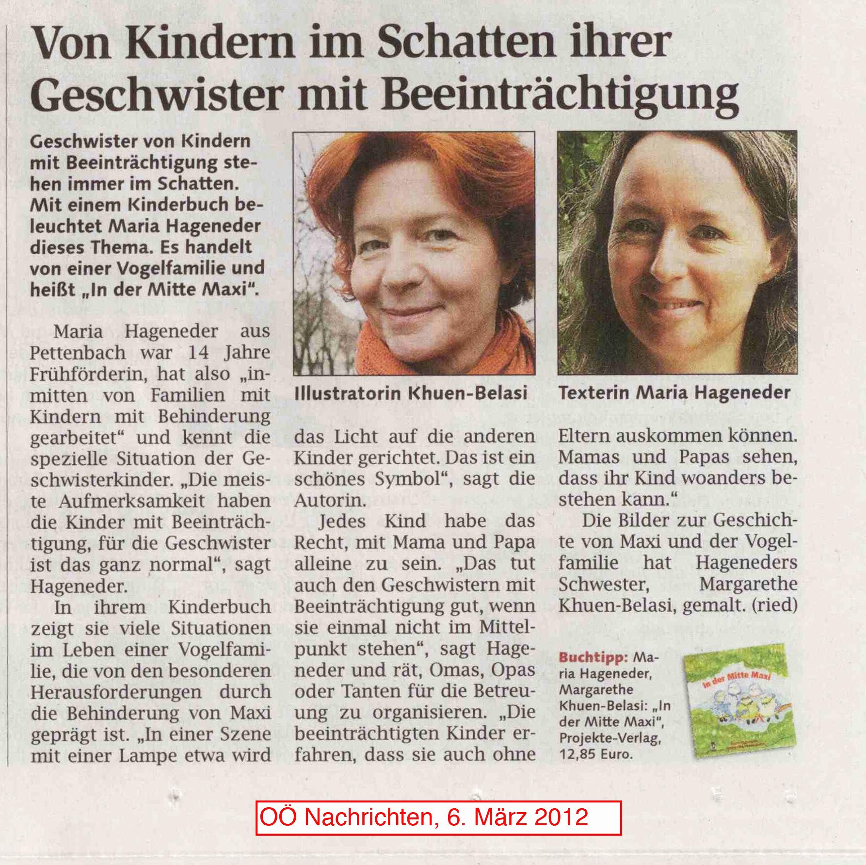 Ein Artikel in den OÖ Nachrichten, 6. März 2012