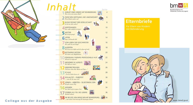 Eine Collage aus mehreren Seiten der Elternbriefe