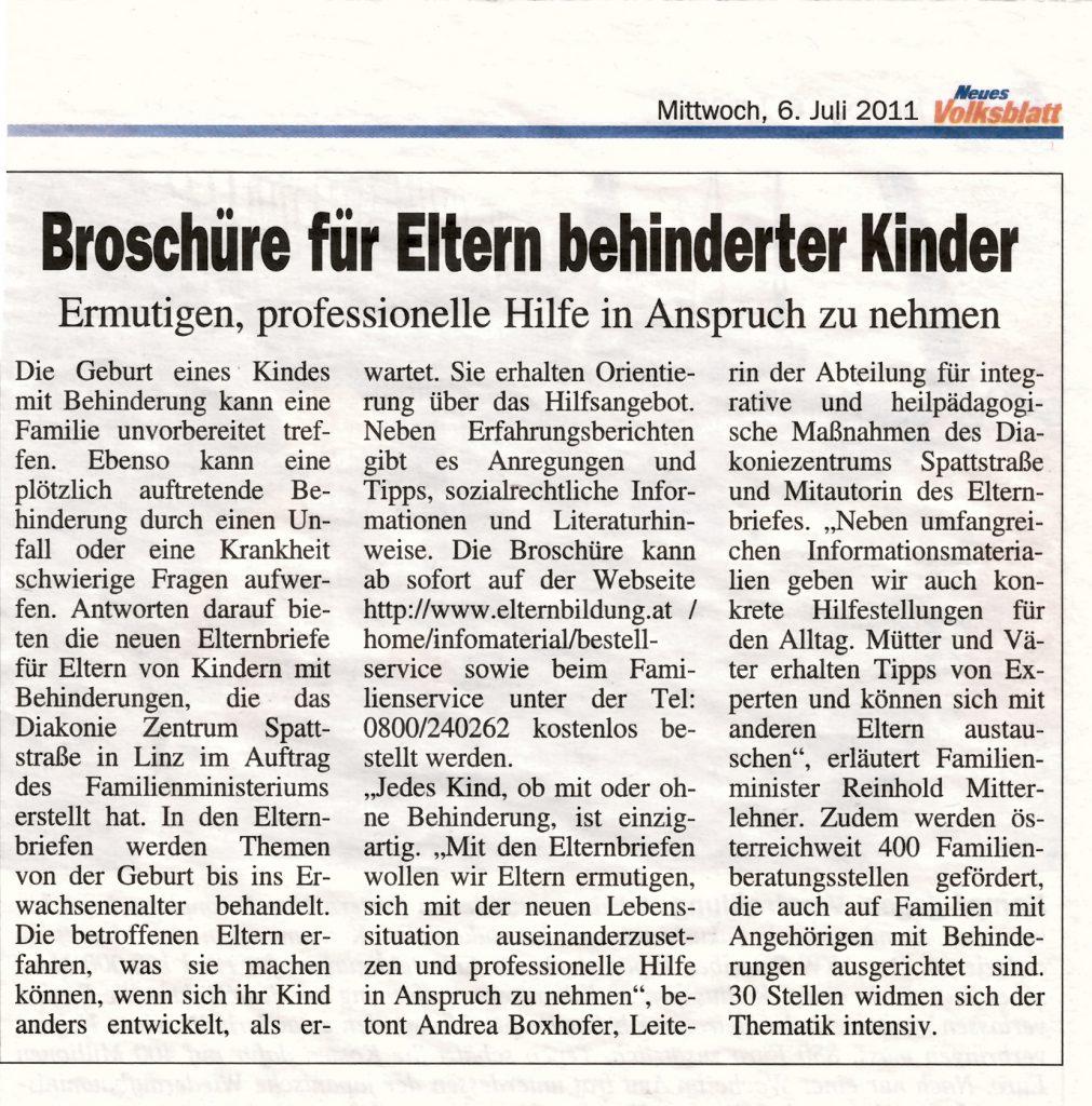 """Ein Artikel im """"Neuen Volksblatt"""" zu den Elternbriefen"""